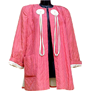 1940s Art Deco Women's Satin Cocktail Jacket Coral and White Size X Large