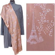 Superb Silk Souvenir Scarf Paris France Eiffel Tower Moulin Rouge Shawl