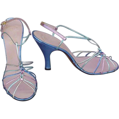 1950s High Heel Shoes Rainbow Metallic on Leather Size 8 Medium