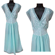 Vintage Nightgown Silky Blue Nylon Butterfly Embroidery Size L