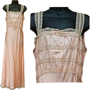 1930s Slinky Rayon Nightgown Peachy Pink Size Large Bias Cut