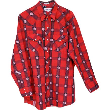 Vintage Western Cowboy Shirt Red Cotton Size Large Long Sleeve
