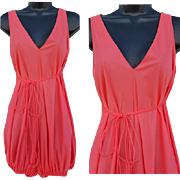 1960s Coral Sleep Romper Silky Nylon Lingerie Size Small - Medium