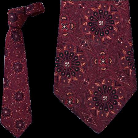 1930s - 1940s Men's Vintage Necktie Cathedral St. Etienne Du Mont Paris