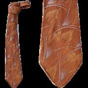 1930s Men's Vintage Silk Necktie Golden Amber Silver Blue Damask