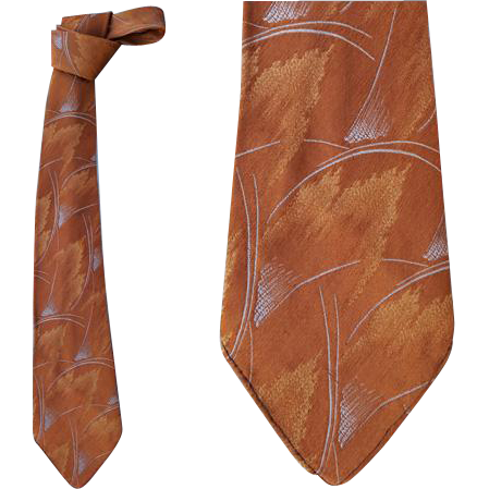 1930s Men's Vintage Silk Necktie Golden Amber Silver Blue Damask