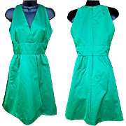 1960s Vintage Green Silk Cocktail Dress  American for Couturier Jerry Silverman Size Small