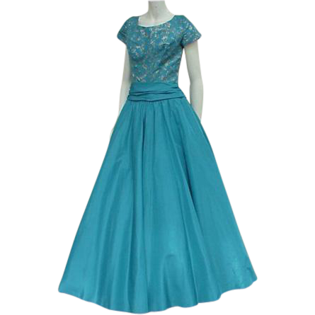 Vintage Dress 1950s Evening Gown Turquoise Blue Silver Embroidery Bust 36 Medium / Large