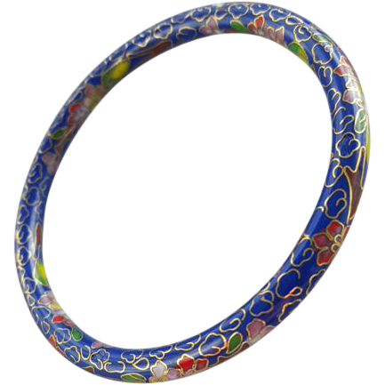 Exotic Vintage Cloisonne Bangle Bracelet Exquisite Work