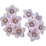 1960s Lavender Clip on Earrings Rhinestone Studded Posies