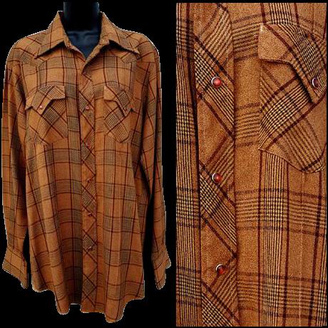 Vintage 1960s - 1970s Cowboy Western Dress Shirt Long Sleeve Size Medium