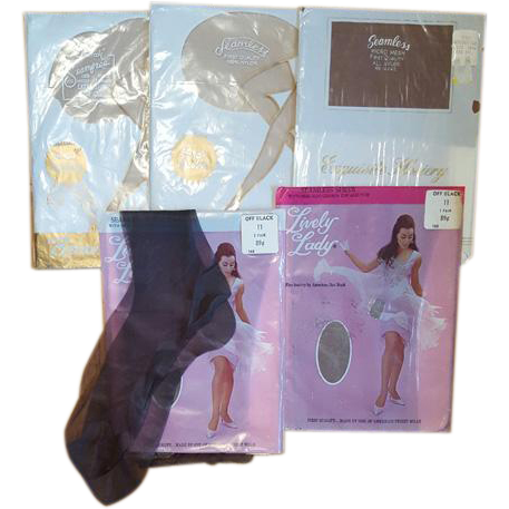 5 Pair Vintage Nylons Hose Seamless Tall Girl Size 10-1/2 and 11
