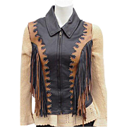 Vintage Western Studded Leather Vest Ombre Layered Fringe Size Small