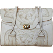 Vintage Purse 1950s - 1960s Hand Tooled Leather Ivory Deerskin