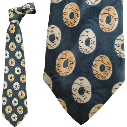 Men's 1950s Vintage Rayon Necktie Wide Green Gold Beige Damask
