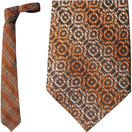 1960s Men's Vintage Necktie Woven Rayon Great Neck Tie