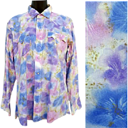 1970s Vintage Women's Western Shirt Blue Purple Pink Size Large