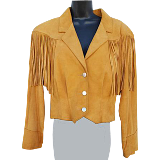 Women's Vintage 1980s Suede Fringed Leather Jacket Pioneer Wear Size Large