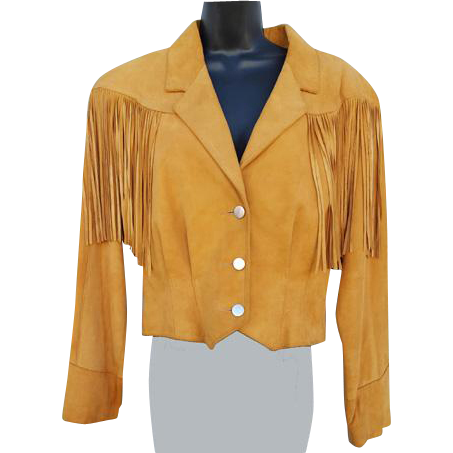 Women's Vintage 1980s Suede Leather Jacket with Fringe by Pioneer Wear Size Large