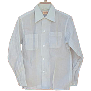 Unworn 1950s Men's Nylon Shirt Sheer Crisp Light Blue Size Small