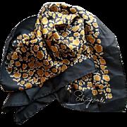 Early Vintage Schiaparelli Silk Scarf Black Gold Very Fine