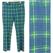 Wild Plaid Vintage Polyester Pants Size Medium Go Golfing