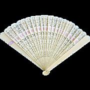 Antique Celluloid Fan Lacy Cut Work Pink Ribbon