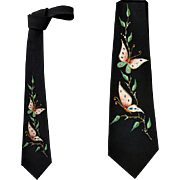 1960s Hand Painted Skinny Necktie Black Rayon Crepe with Butterflies Mint Condition.