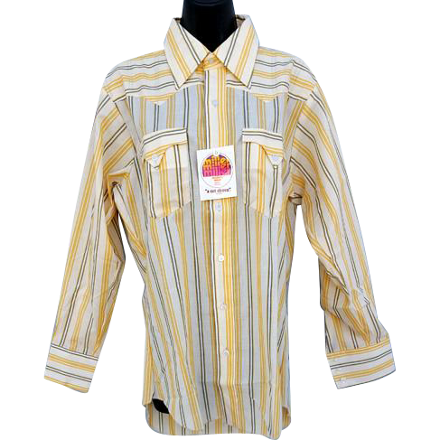 Vintage 1970s Men's Western Cowboy Shirt Unworn Long Sleeve Medium