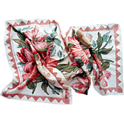 Vintage Coral Floral Silk Scarf NOS Echo for Nordstroms