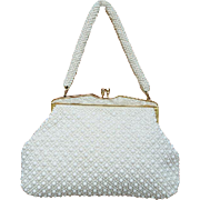 1960s White Plastic Bead and Lucite Purse Mint