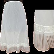 Vintage Half Slip White with Crystal Accordion Lace Trim Size Medium