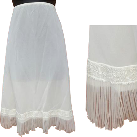 Vintage Half Slip White with Crystal Accordion Lace Trim Size Medium