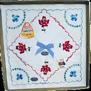 1960s Embroidered Cotton Handkerchiefs Switzerland NOS Mint in Box Roses