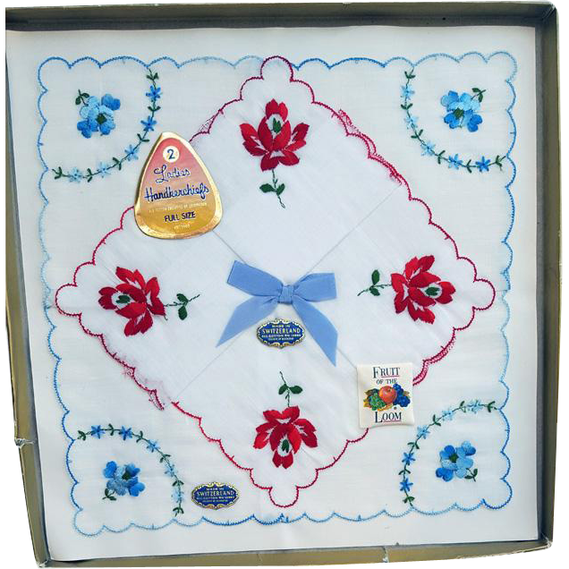 1960s Embroidered Cotton Handkerchiefs Switzerland NOS Mint in Box Roses