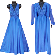 Vintage Blue Olga Nightgown with Peignoir Size Large Unworn