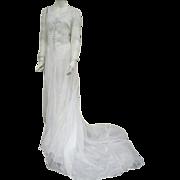 1930s - 1940s Batiste Wedding Gown Elegant Train Size Small - Medium