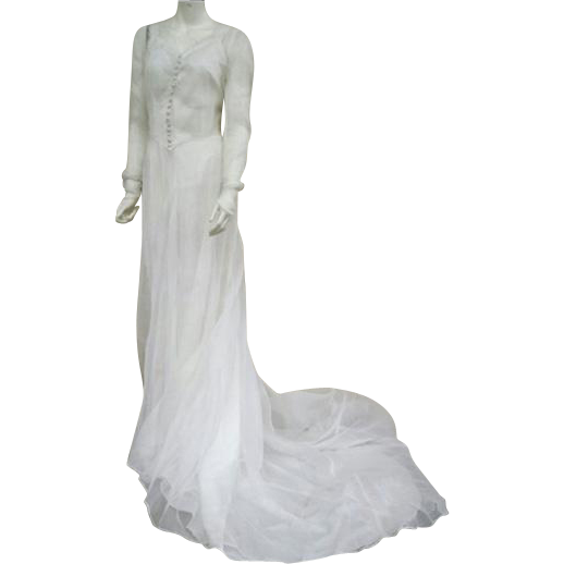 1930s - 1940s Batiste Wedding Gown Elegant Train Size Small to Medium