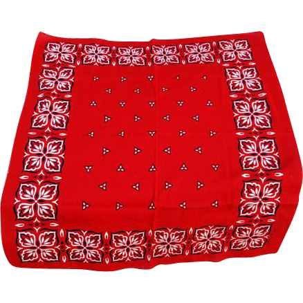 Cowboy Cowgirl Vintage Red Cotton Western Bandana Neckerchief