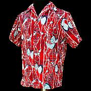 Vintage Cotton Hawaiian Aloha Shirt Kiilani by Alfred Shaheen Half Sleeve
