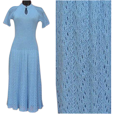 Knit Dress Nina Made in Spain Baby Blue Size Small