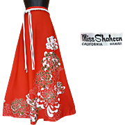 1970s Panel Print Signed Shaheen Floor Length Maxi Skirt Size Large