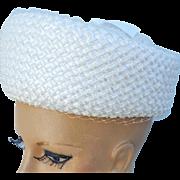 Sweet 1960s Pillbox Hat White Straw Spring Summer