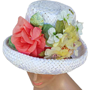 Vintage 1960s Hat with Coral White Yellow Flowers on Woven White Straw