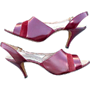 1960s High Heel Shoes Unworn Burgundy LEATHER Size 8-1/2 / 9