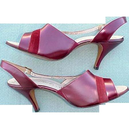 1960s High Heel Shoes Unworn Burgundy LEATHER Size 8-1/2 / 9