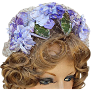 Vintage Hat Lavish Purple Flowers Head Band Style One Size