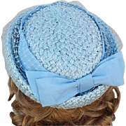 1960s Classic Blue Pillbox Hat Net Ribbon Jackie O Style