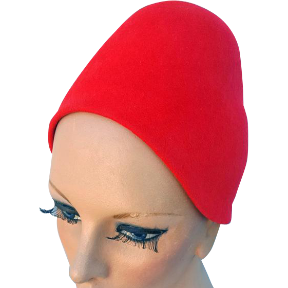 Vintage 1960s Red Cloche Style Felt Hat Turban Cap Medium Md