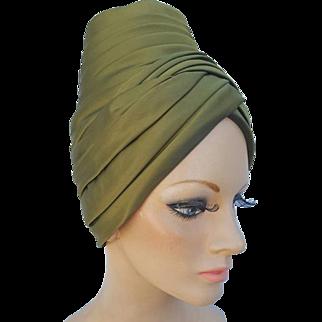 Dramatic 1960s Turban Hat Pleated Green Satin Medium